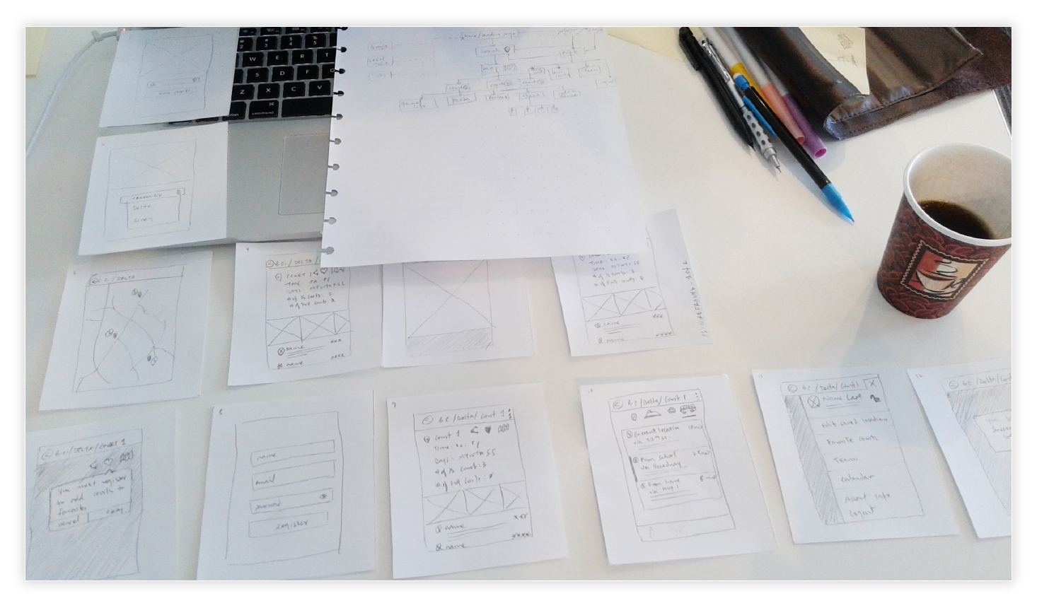Low-Fidelity, paper wireframes showing some of the screens.