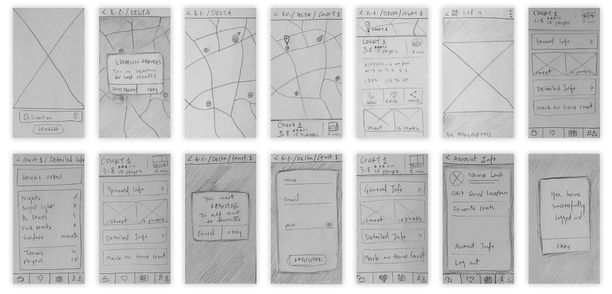 Updated Low-Fidelity, paper wireframes showing improvements from user-testing.